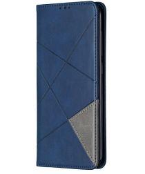 Xiaomi Redmi Note 9 Hoesje Geometrie Portemonnee Blauw