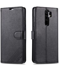 AZNS Xiaomi Redmi 9 Portemonnee Stand Hoesje Zwart