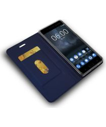 Nokia 6 (2017) Portemonnee Hoesje Kunstleer Donker Blauw