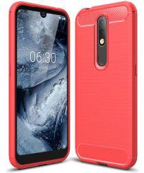 Nokia 4.2 Geborsteld TPU Hoesje Rood