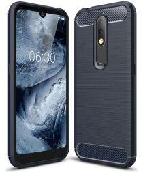 Carbon Fibre Brushed TPU Case for Nokia 4.2 - Dark Blue