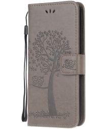 Nokia 2.3 Portemonnee Hoesje met Boom Print Grijs