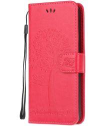 Nokia 2.3 Portemonnee Hoesje met Boom Print Rood