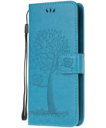 Nokia 2.3 Portemonnee Hoesje met Boom Print Blauw
