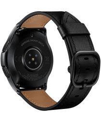 Universeel Smartwatch 22MM Bandje Leer met Modieuze Gespsluiting Zwart