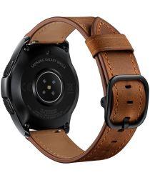 Universeel Smartwatch 22MM Bandje Leer met Modieuze Gespsluiting Bruin