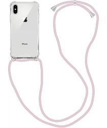 Apple iPhone XS / X Hoesje Back Cover met Koord Roze Goud