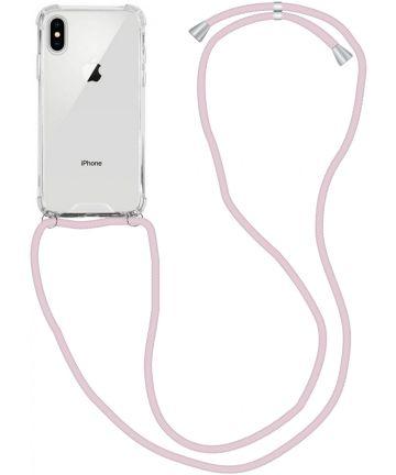 Apple iPhone XS / X Hoesje Back Cover met Koord Roze Goud Hoesjes