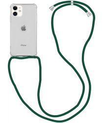 Apple iPhone 12 Mini Hoesje Back Cover met Koord Donker Groen
