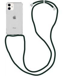 Apple iPhone 12 / 12 Pro Hoesje Back Cover met Koord Zwart