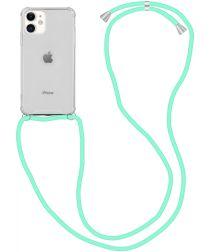 Apple iPhone 12 / 12 Pro Hoesje Back Cover met Koord Mint Groen