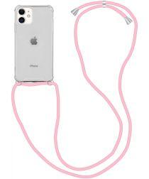 Apple iPhone 12 / 12 Pro Hoesje Back Cover met Koord Roze