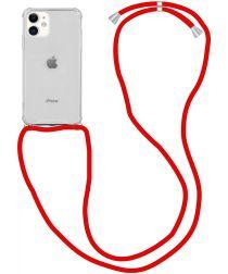 Apple iPhone 12 / 12 Pro Hoesje Back Cover met Koord Rood