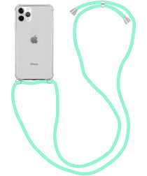 Apple iPhone 12 Pro Max Hoesje Back Cover met Koord Mint Groen