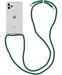 Apple iPhone 12 Pro Max Hoesje Back Cover met Koord Donker Groen