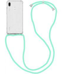 Huawei P20 Lite Hoesje Back Cover met Koord Mint Groen