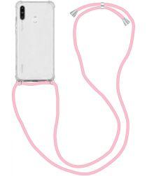 Huawei P30 Lite Hoesje Back Cover met Koord Roze