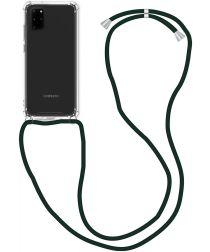 Samsung Galaxy A71 Hoesje Back Cover met Koord Zwart