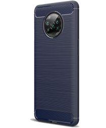 Xiaomi Poco X3 Hoesje Geborsteld TPU Flexibele Back Cover Blauw