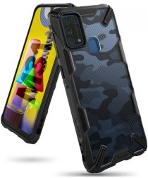 Ringke Fusion X Samsung Galaxy M31s Hoesje Camo Zwart