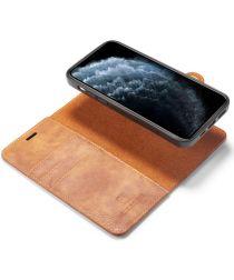DG Ming iPhone 12 / 12 Pro Hoesje 2-in-1 Book Case en Back Cover Bruin