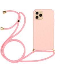 Apple iPhone 12 Mini Hoesje Flexibel TPU Back Cover met Koord Roze