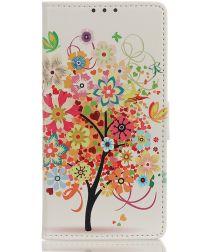 Samsung Galaxy M31s Hoesje Portemonnee met Print Tree Oranje