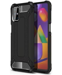 Samsung Galaxy M31s Hoesje Shock Proof Hybride Back Cover Zwart
