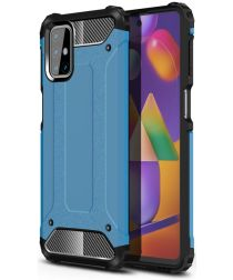 Samsung Galaxy M31s Hoesje Shock Proof Hybride Back Cover Lichtblauw