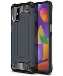 Samsung Galaxy M31s Hoesje Shock Proof Hybride Back Cover Blauw