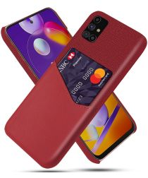 Samsung Galaxy M31s Kunstleer en Stof Hoesje met Kaarthouder Rood