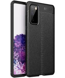 Samsung Galaxy S20 FE Litchi Hoesje TPU met Leren Textuur Zwart