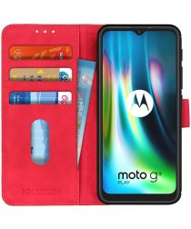 Motorola Moto G9 Play / Moto E7 Plus Hoesje Vintage Wallet Rood