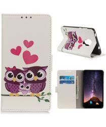 Motorola Moto G9 Play / Moto E7 Plus Wallet Hoesje met Uilen Print