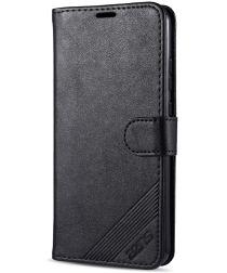 AZNS Xiaomi Redmi 9C Hoesje Wallet Book Case Kunst Leer Zwart
