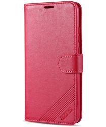 AZNS Xiaomi Redmi 9C Hoesje Wallet Book Case Kunst Leer Rood