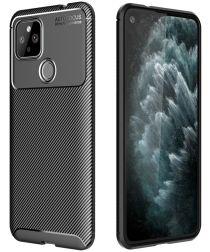 Google Pixel 4A 5G Hoesje Geborsteld Carbon Zwart