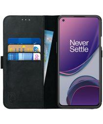 Rosso Deluxe OnePlus 8T Hoesje Echt Leer Book Case Zwart
