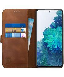 Rosso Deluxe Samsung Galaxy S20 FE Hoesje Echt Leer Book Case Bruin