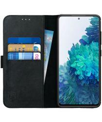 Rosso Deluxe Samsung Galaxy S20 FE Hoesje Echt Leer Book Case Zwart