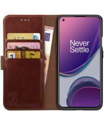Rosso Element OnePlus 8T Hoesje Book Cover Wallet Case Bruin