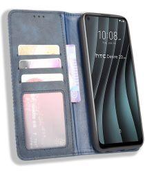 HTC Desire 20 Pro Retro Book Case Portemonnee Hoesje Grijs