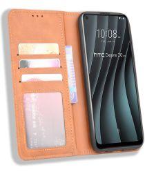 HTC Desire 20 Pro Retro Book Case Portemonnee Hoesje Bruin