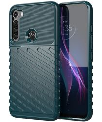 Motorola Moto One Fusion Plus Twill Thunder Texture Back Cover Groen