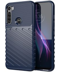 Motorola Moto One Fusion Plus Twill Thunder Texture Back Cover Blauw