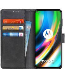 Motorola Moto G9 Plus Portemonnee Stand Hoesje Zwart