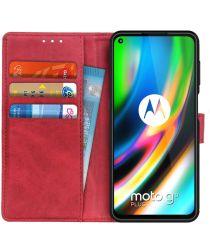 Motorola Moto G9 Plus Portemonnee Stand Hoesje Rood