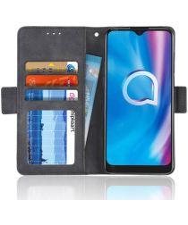 Alcatel 3L (2020) Portemonnee Hoesje met Kaarthouder Zwart