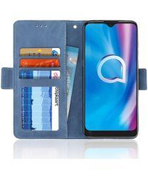 Alcatel 3L (2020) Portemonnee Hoesje met Kaarthouder Blauw