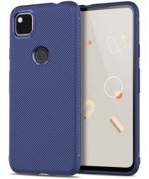 Google Pixel 4A Hoesje Twill Slim Textuur Back Cover Blauw